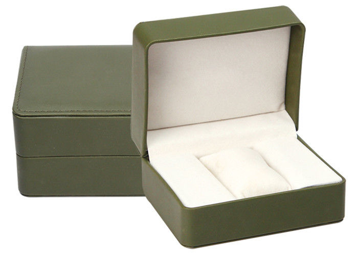 High End Green Leather Single Watch Box Embossing Logo Craft Custom Size